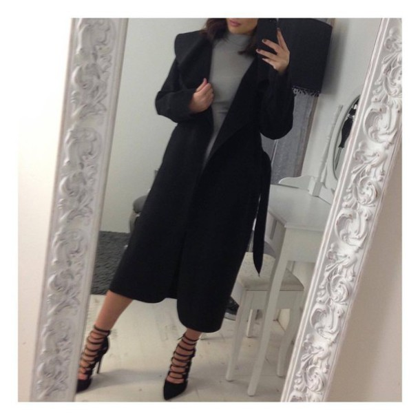 Coat sexy girly black trendy cool dope classy evening outfits tumblr black coat ...