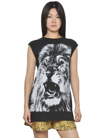 t-shirt shirt sleeveless lion cotton black top