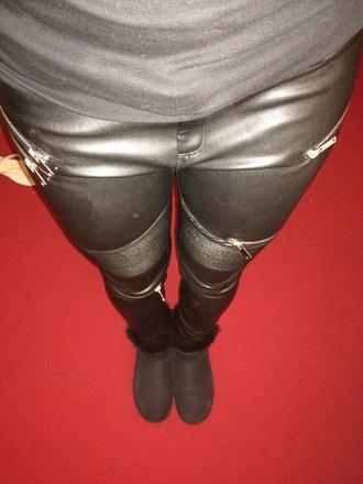 pants biker faux leather pants zara