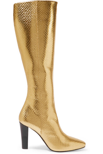 snake metallic boots leather gold print snake print shoes