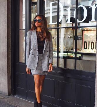 jacket tumblr blazer grey blazer check blazer plaid blazer skirt mini skirt grey skirt matching set top see through see through top sunglasses