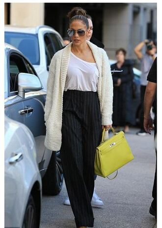 cardigan pants jennifer lopez high waisted sunglasses fall outfits white cardigan