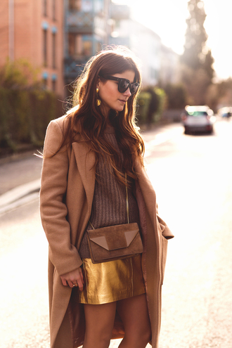 the fashion fraction blogger sunglasses gold leather skirt long coat brown knitted sweater coat sweater skirt shoes bag jewels tights metallic skirt winter outfits