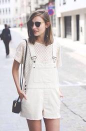bag,streetstyle,white,shirt,polka,sunglasses,polka dots,black and white,stylish,blouse,jeans,pants,jumpsuit,romper