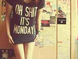 t-shirt oh shit it's monday shirt tee black shirt monday