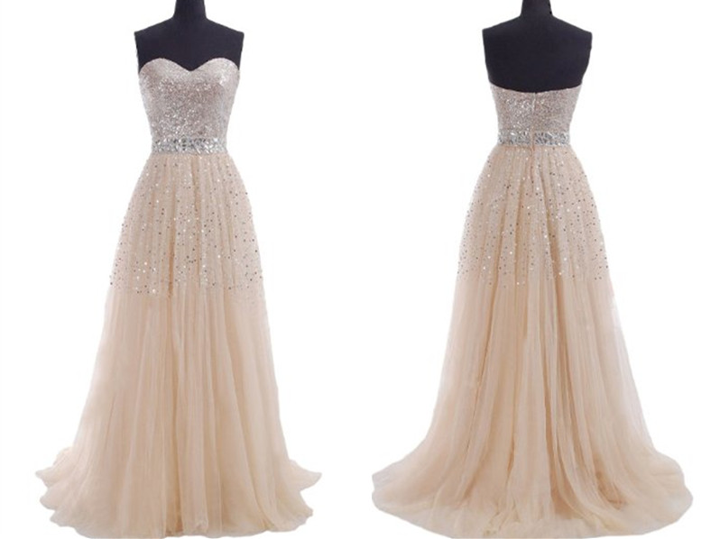 2014 Cheap Plus Size Modest Champagne Prom Dresses Sequins Sweeheart Zipper Or Lace Up Long Evening  on Luulla