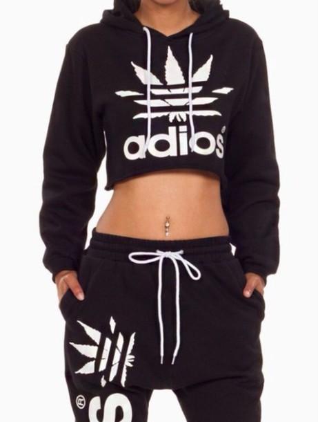 f02039811901 girl girly girly wishlist joggers joggers pants black adios white crop  cropped hoodie cropped adios adidas