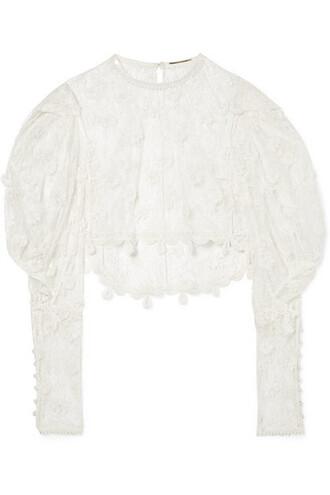 blouse cropped lace cotton top