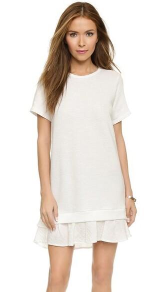 dress sweatshirt dress short ruffle white
