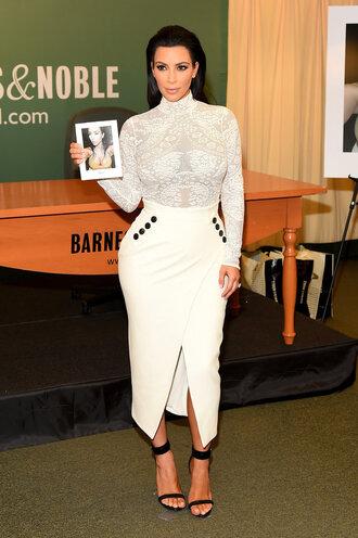 skirt blouse top lace top lace slit skirt kim kardashian sandals