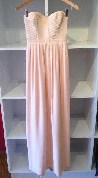 dress maxi dress salmon nude strapless blush