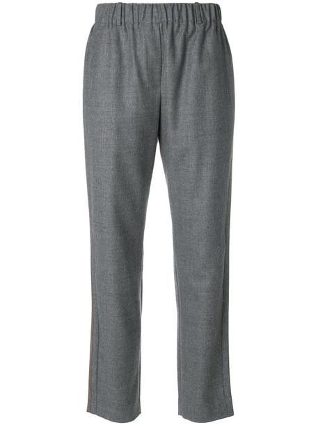 INCOTEX cropped women wool grey pants