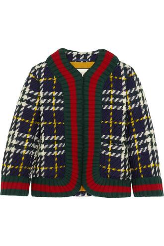 jacket wool jacket plaid cropped wool