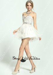 White Jewels Beaded Waist Striped Sequin Beading Short Prom Dress 2015 [SC-03] - $192.00 : Prom Dresses On Sale, Semi-formal Dresses Online StaychicDresses