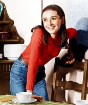 sweater,audrey hepburn,red sweater,jeans,blue jeans,mom jeans,high waisted jeans,vintage