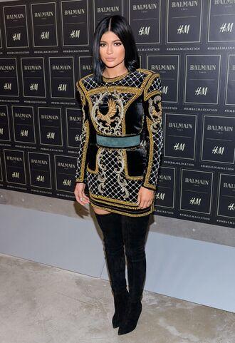 dress kylie jenner kardashians black dress gold sequins short dress knee high boots