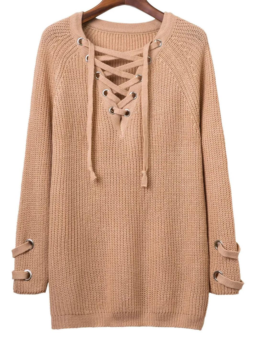 Khaki Eyelet Lace Up V Neck Knit Dress -SheIn(Sheinside) 0b064ad36