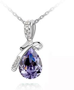 Elegant Silver & Amethyst Purple Angel Tear Crystal Necklaces Chains N171 | Amazing Shoes UK