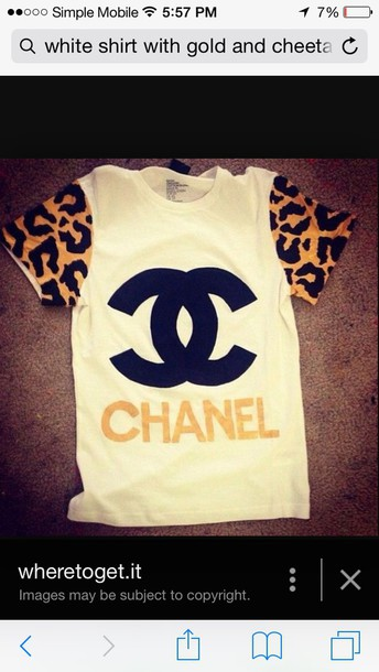 shirt white with cheetah and gold