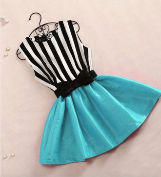 dress blue teal black and white stripes bow cute dress cute