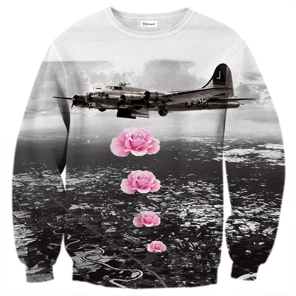 pullover sweater gris pink roses
