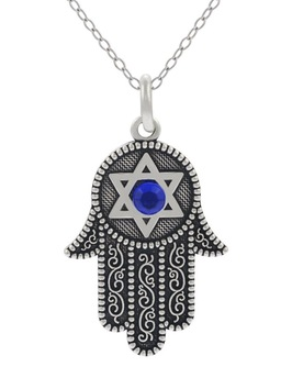 Silver Tone HAMSA Hand Star Necklace