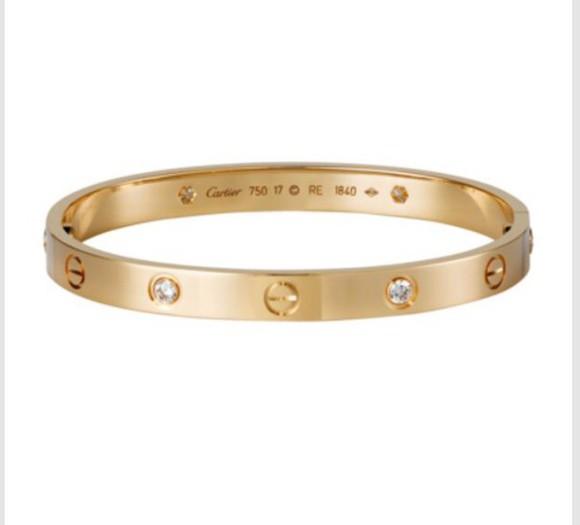 jewels gold love bracelet rhinestones