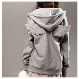 clothes fashion style jacket hoodie cute grey cardigan fall outfits girly coat wings