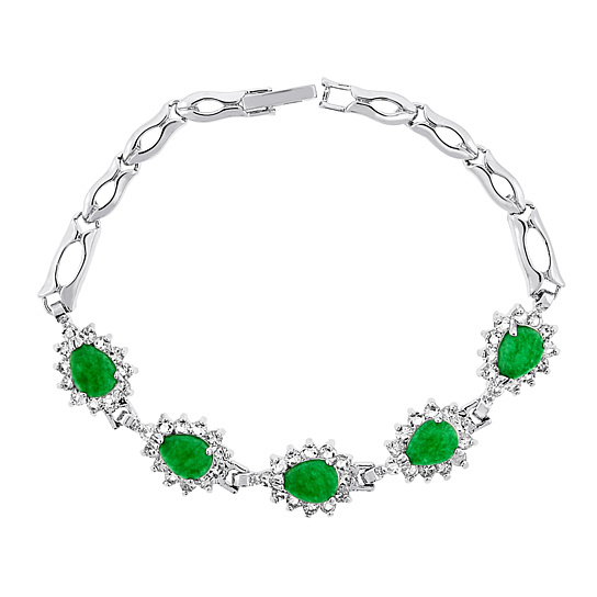 Genuine Jade Bracelet with Cubic Zirconias - Heart or Teardrop