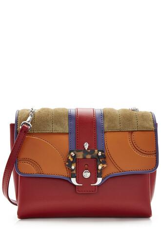 bag shoulder bag leather suede multicolor