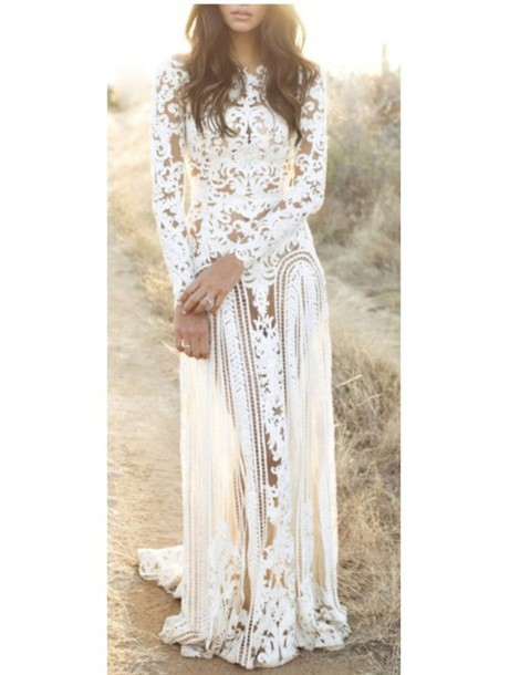 dress white lace floor length formal long fancy homecoming prom sheer long sleeved