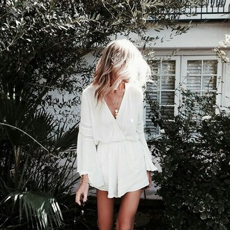 jumpsuit romper white v neck summer spring long sleeves