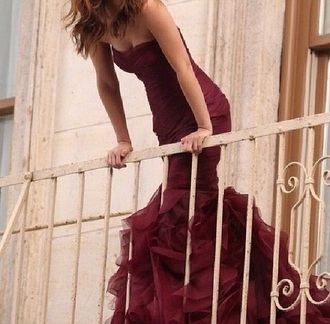 dress prom dress burgundy mermaid prom dress strapless