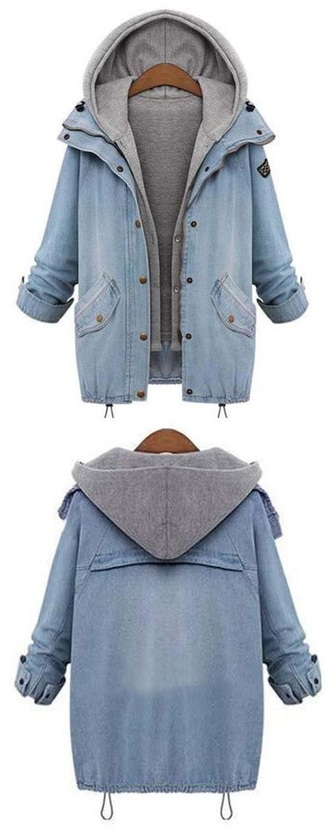 jacket coat hood denim denim jacket denim and grey jean jackets