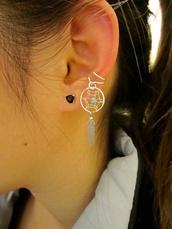jewels,jewelry,earrings,dreamcatcher,feathers,jeans