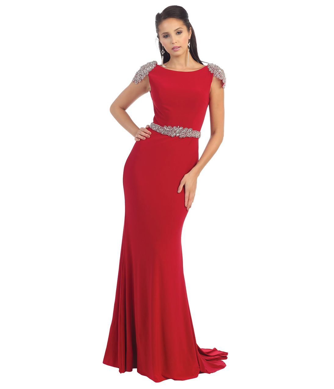 Radiant Red Cap Sleeve Gown 2015 Prom Dresses
