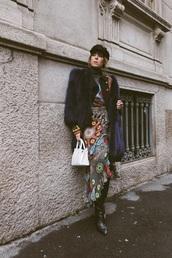 dress,floral,boots,black boots,bag,white bag,hat,fisherman cap,jacket,floral dress,fur jacket
