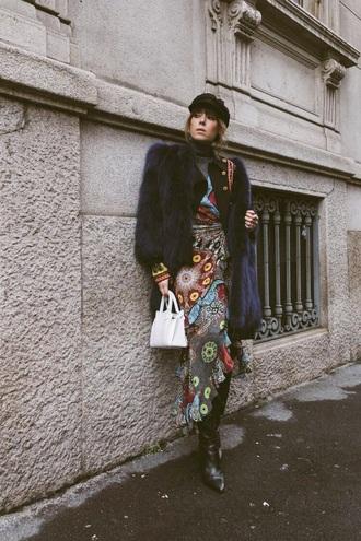 dress floral boots black boots bag white bag hat fisherman cap jacket floral dress fur jacket