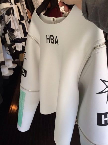 blouse shirt hba hood by air hba shirt top hba white hoodbyair vest menswear zip zipper blvck