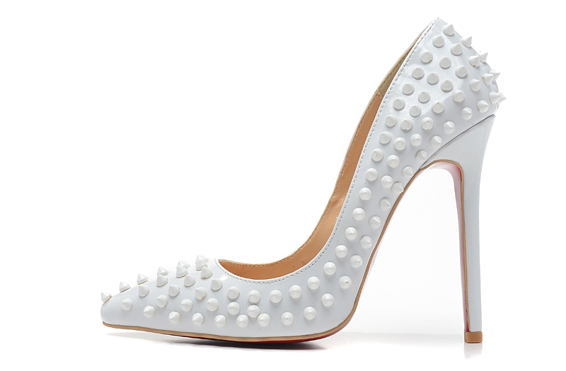 2014 women's 12cm high heels white patent leather with spikes pointed toe pumps,ladies design fashion nude shoes