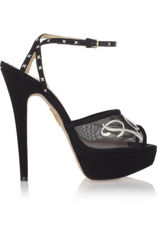 Paris embroidered mesh and satin sandals | THE OUTNET
