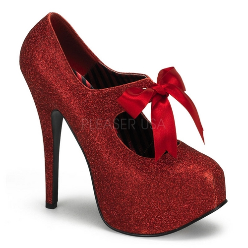 "Glitter platform mary jane pump w/ribbon bow tie and a 5.75"" stiletto heel"