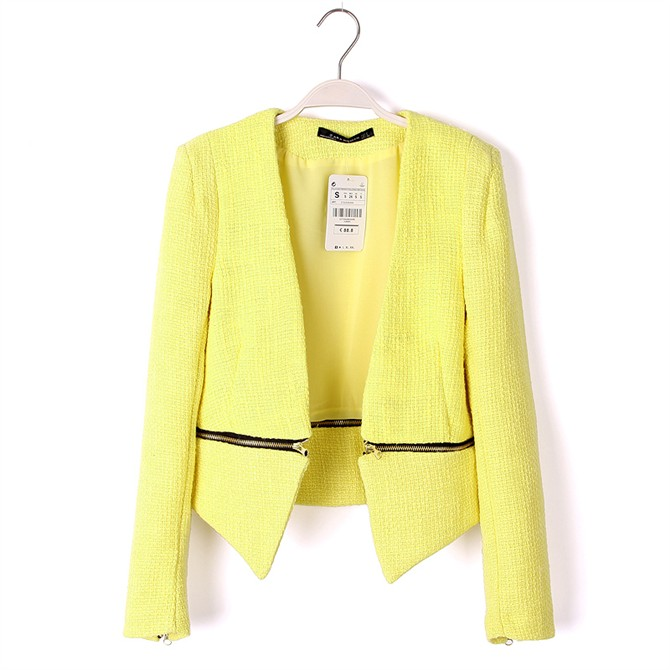 BLOGGER Fav Vtg Hippie Neon Yellow Tweed Zara Inspired Coat Blazer Jacket | eBay