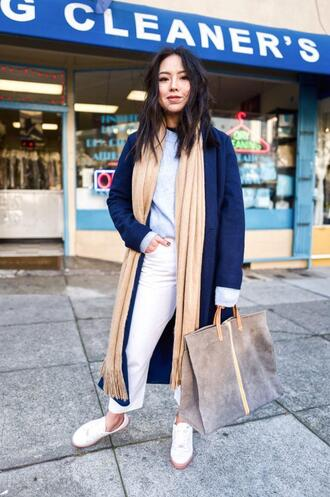 the fancy pants report blogger sweater coat shoes bag blue coat tote bag spring outfits
