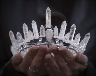 jewels crystal quartz quartz lovely pepa beauty fashion shopping fashion hair accessory chrystal crown grunge indie perfect crystal crown tiara princess ice natural spiritual tribal headband sparkle healing stone