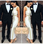 studs,white dress,satchel bag,nude high heels,mens suit,dress,prom menswear,white,cream dress,ankle length,maxi dress,tight,girl with curves,skin tight,gold