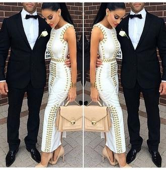 studs white dress satchel bag nude high heels mens suit