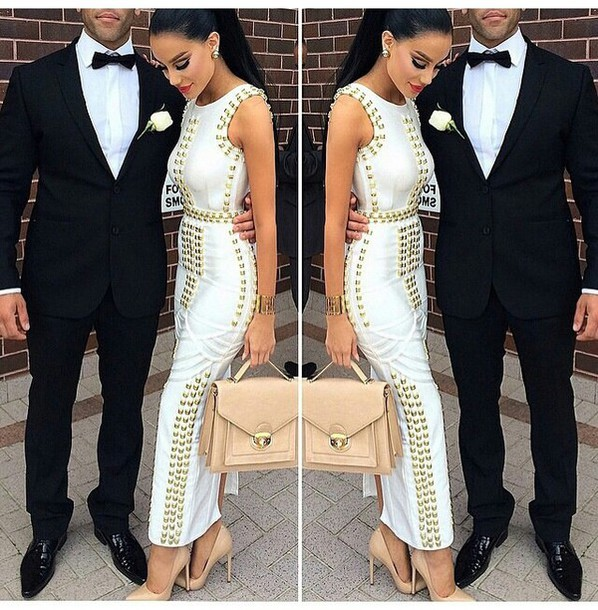 Dress: studs, white dress, satchel bag, nude high heels, mens suit ...