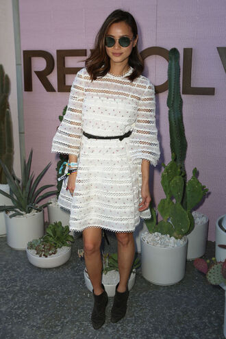 dress lace dress white dress white lace dress blogger jamie chung coachella festival ankle boots sunglasses shoes