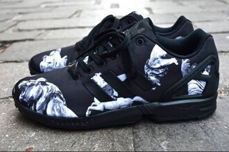 shoes adidas adidas shoes adidas zx flux zx flux addidas zxflux black and white sneakers shoes adidas sneakers kicks